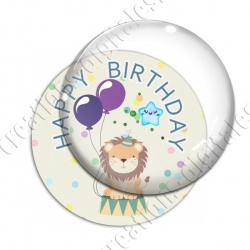 Image digitale - Happy birthday - Lion et ballons