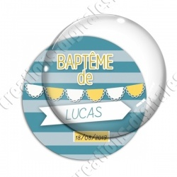Image digitale - Baptême de - Fond ligne bleu