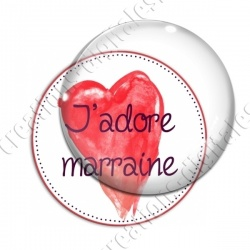 Image digitale - J'adore marraine - coeur