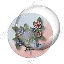 Image digitale - Composition florale 4 - fond bicolore