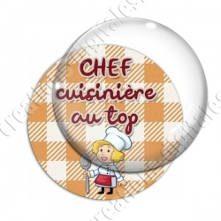 Image digitale - Chef cuisinière - Fond orange