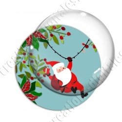 Image digitale - Père Noël arrive - bleu