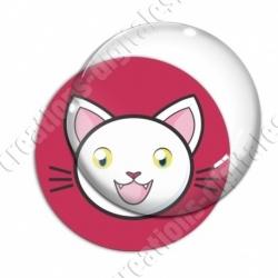 Image digitale - Chat blanc yeux ouverts et fond rouge