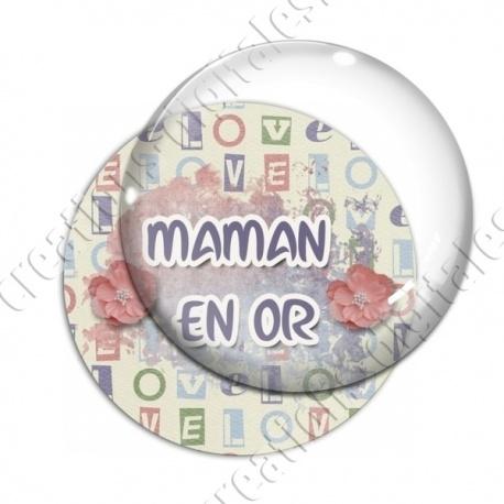 Image digitale - Maman en or - fleurs