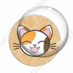 Image digitale - Chat taché yeux fermés et fond rayé orange
