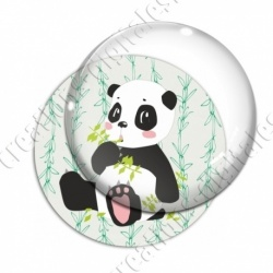 Image digitale - Panda assis qui mange  - fond bambou vert