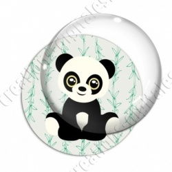 Image digitale - Panda assis  - fond bambou vert