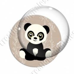 Image digitale - Panda assis  - fond bambou marron