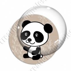 Image digitale - Panda assis de côté  - fond bambou marron