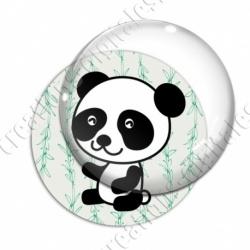 Image digitale - Panda assis de côté  - fond bambou vert