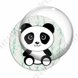 Image digitale - Panda assis 2  - fond bambou vert