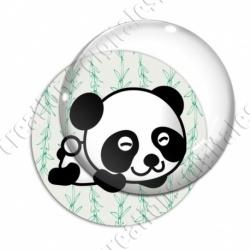 Image digitale - Panda allongé  - fond bambou vert