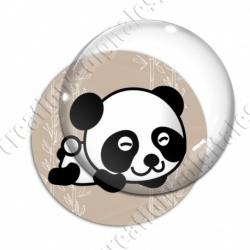 Image digitale - Panda allongé  - fond bambou marron
