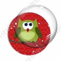Image digitale - Hibou vert sur fond rouge