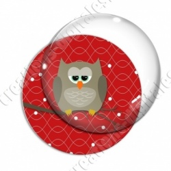 Image digitale - Hibou brun sur fond rouge