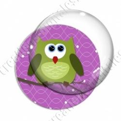 Image digitale - Hibou vert sur fond violet