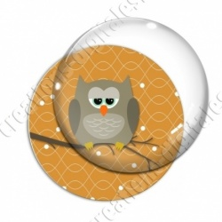 Image digitale - Hibou brun sur fond orange