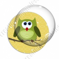 Image digitale - Hibou vert sur fond jaune