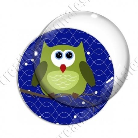 Image digitale - Hibou vert sur fond bleu