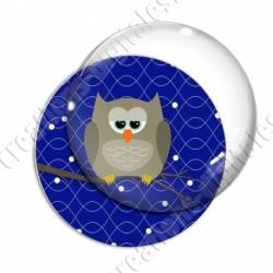Image digitale - Hibou brun sur fond bleu