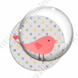 Image digitale - Oiseau rouge sur fond à pois