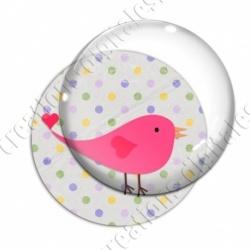 Image digitale - Oiseau rose sur fond à pois