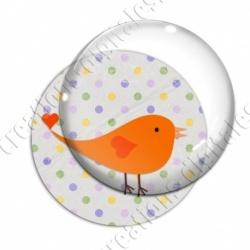 Image digitale - Oiseau orange sur fond à pois