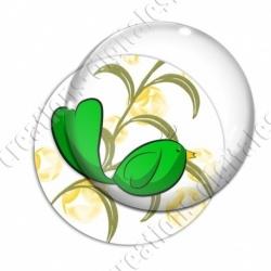 Image digitale - Oiseau vert fond feuille verte