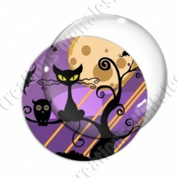 Image digitale - Halloween - Chat et hibou sur un arbre