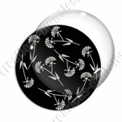 Image digitale - Motif fleur à tige noir