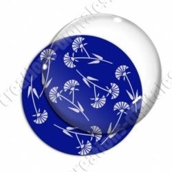 Image digitale - Motif fleur à tige bleu